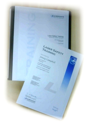 laser course folder and certificate